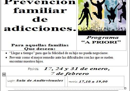 Escuela de familia. Taller de prevención familiar de adicciones.