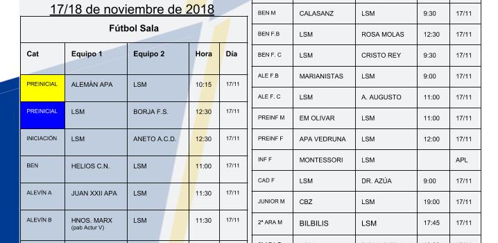 Horarios Agrupación Deportiva 17 y 18 de Noviembre