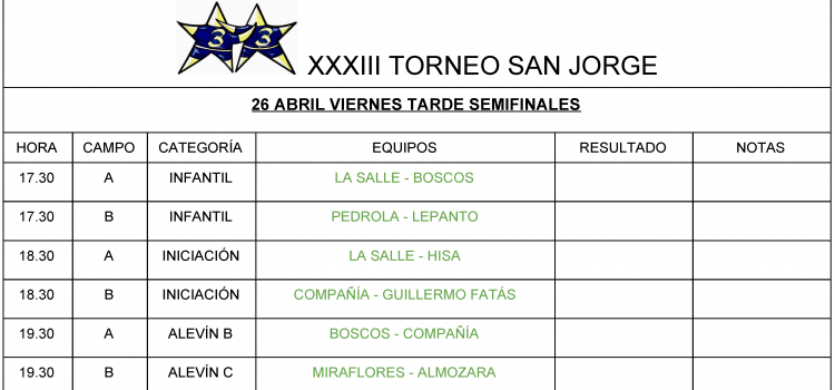 Horarios Torneo San Jorge 2019